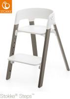 Stokke Hochstuhl Steps Bundles White Seat / Hazy Grey Legs
