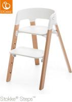 Stokke Hochstuhl Steps Bundles White Seat / Natural Legs
