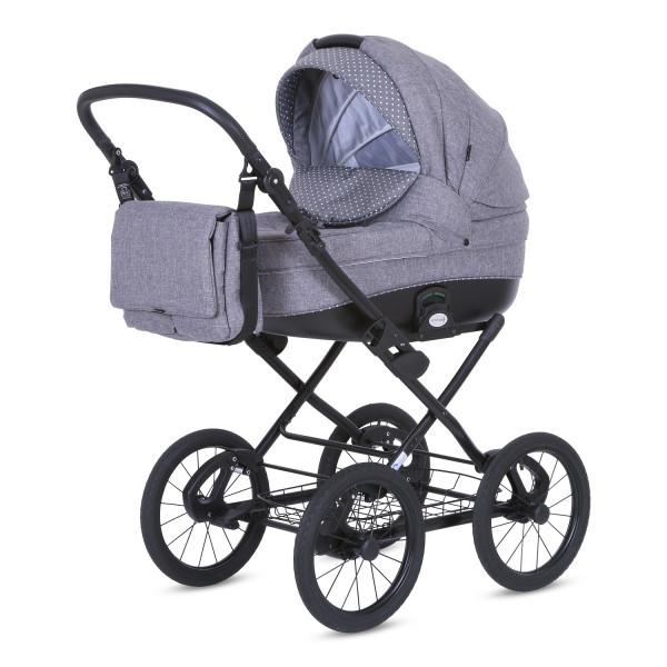 Knorr Baby Kinderwagen ROMA Hellgrau / Punkte
