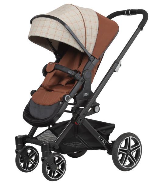 Hartan Kinderwagen Vip GTX 412 terra check Gestellfarbe schwarz Kollektion 2021