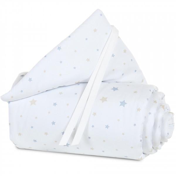 Tobi Babybay Nestchen für Original Piqué weiß, mit Sternemix sand / azurblau