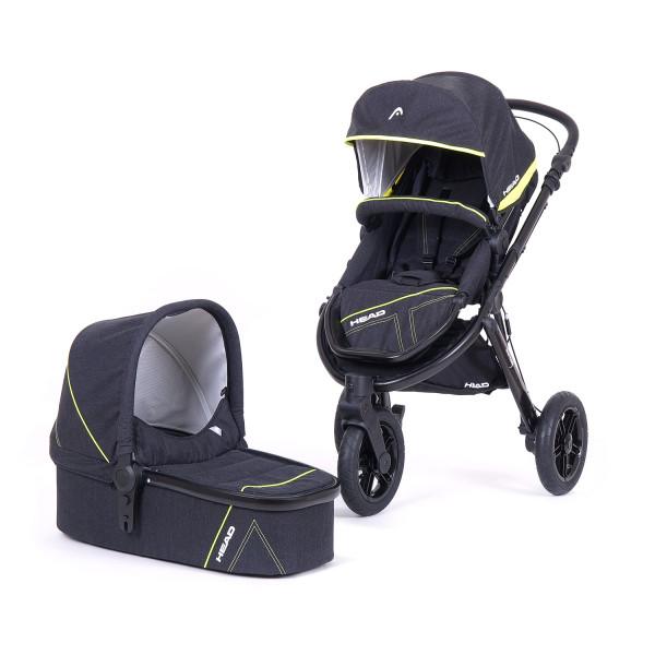Knorr Baby Kombiwagen HEAD SPORT3 Darkgrey-Yellow Kollektion 2020 GESICHERTER Direktversand