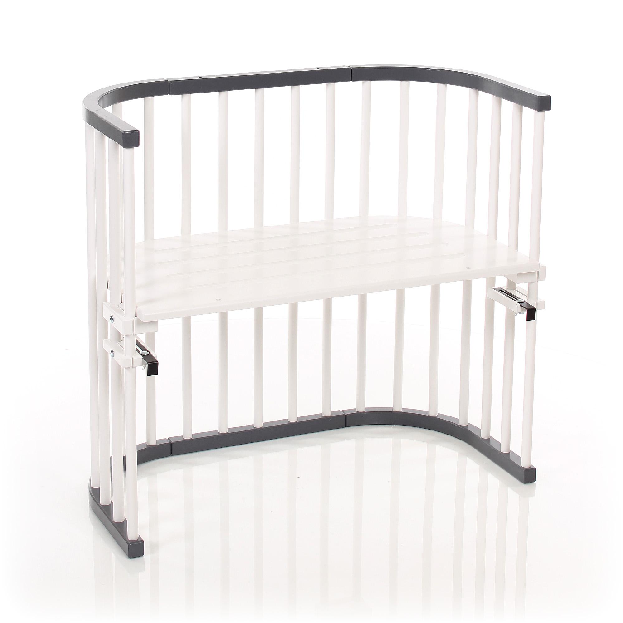 tobi babybay beistellbett original schiefergrau wei extra bel ftet baby fachmarkt f r. Black Bedroom Furniture Sets. Home Design Ideas